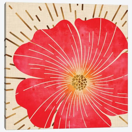 Red Hibiscus Canvas Print #MTP55} by Modern Tropical Canvas Wall Art