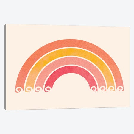 Retro Rainbow Waves Canvas Print #MTP57} by Modern Tropical Canvas Artwork