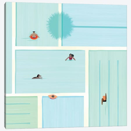 Saturdays At The Pool 3-Piece Canvas #MTP58} by Modern Tropical Canvas Print