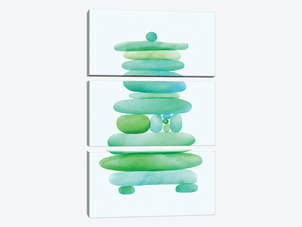 Seaglass Cairn by Modern Tropical 3-piece Canvas Wall Art
