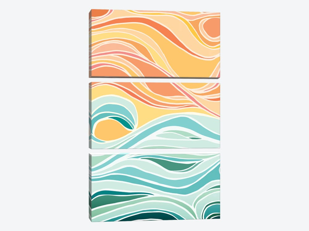 Sky And Sea Abstract by Modern Tropical 3-piece Canvas Print