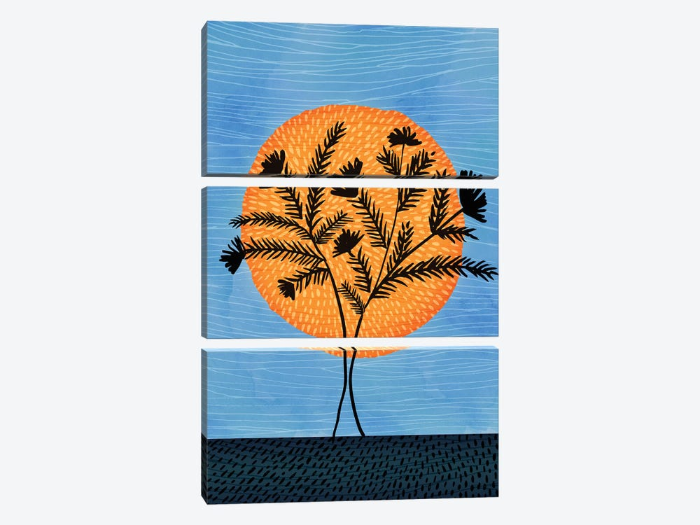 Sunset Silhouette by Modern Tropical 3-piece Canvas Art Print