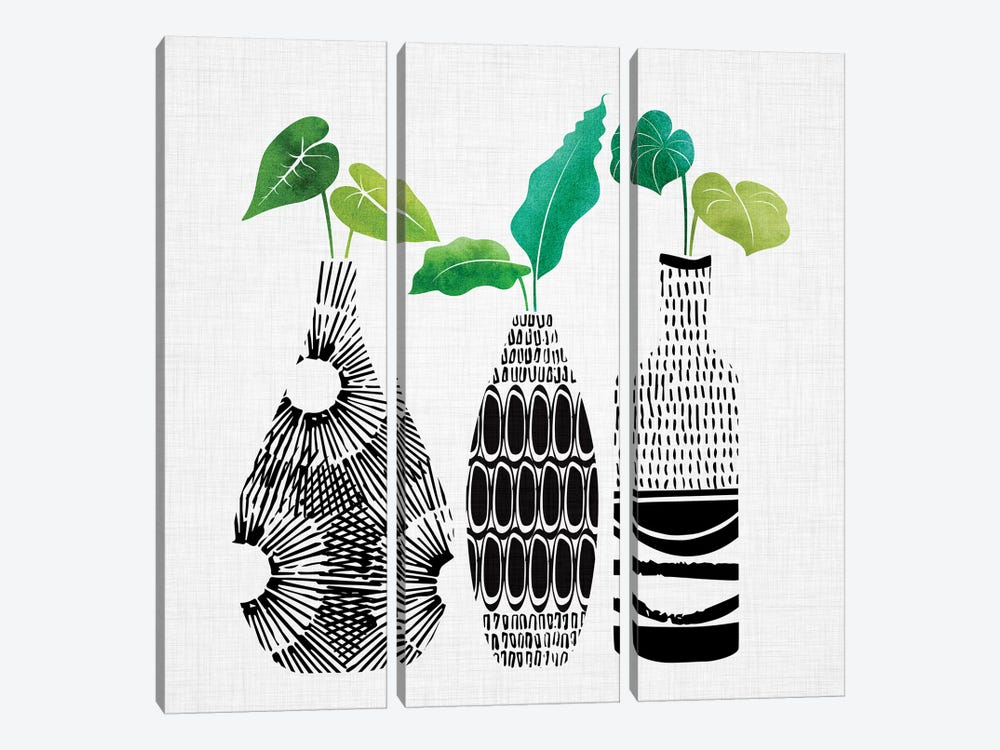 Tribal Vases Trio by Modern Tropical 3-piece Canvas Art