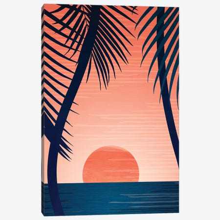 Tropical Beach Sunset Canvas Print #MTP72} by Modern Tropical Canvas Art Print