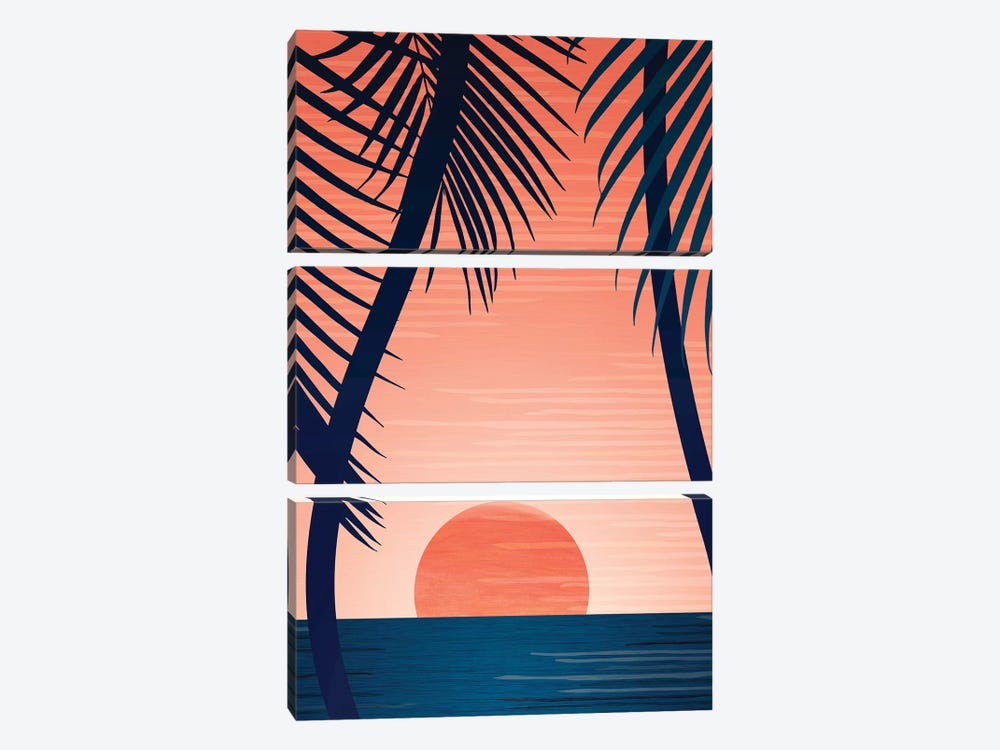 Tropical Beach Sunset by Modern Tropical 3-piece Canvas Print