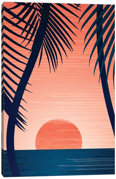 Tropical Beach Sunset Canvas Art Print