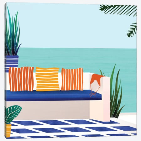 Tropical Villa On The Sea Canvas Print #MTP77} by Modern Tropical Canvas Wall Art