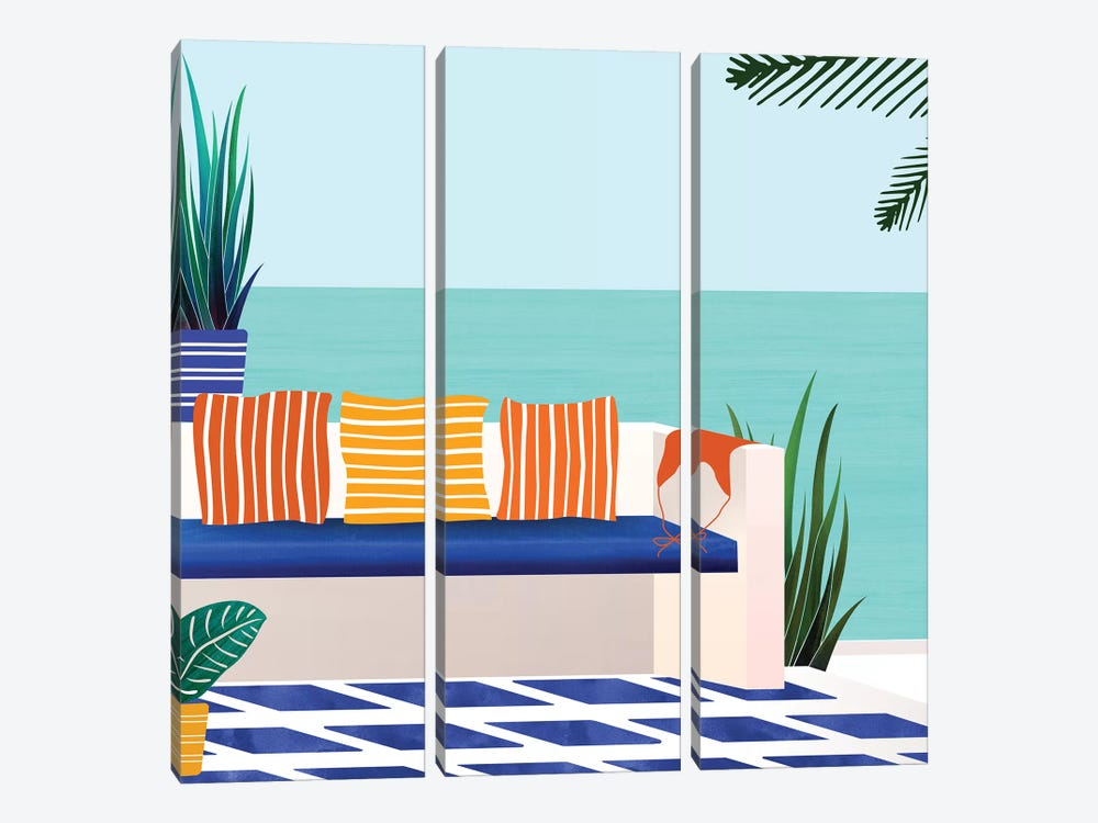 Tropical Villa On The Sea by Modern Tropical 3-piece Canvas Art