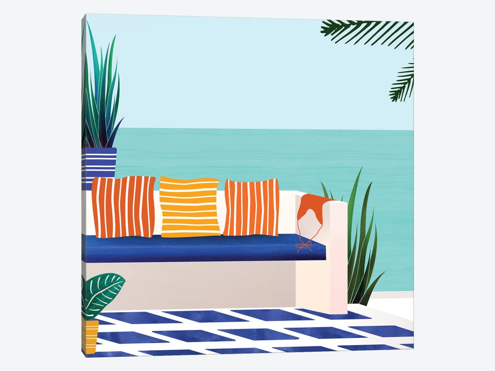 Tropical Villa On The Sea by Modern Tropical 1-piece Canvas Art