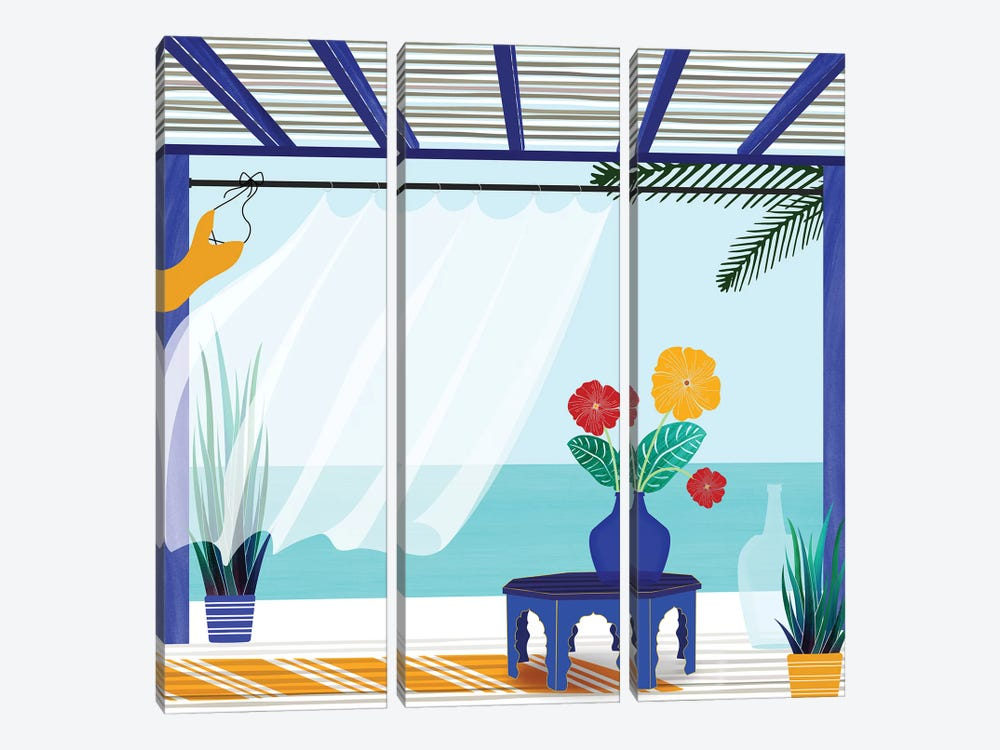 Villa By The Sea by Modern Tropical 3-piece Canvas Wall Art