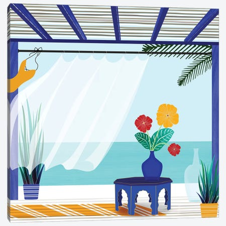Villa By The Sea Canvas Print #MTP80} by Modern Tropical Canvas Artwork