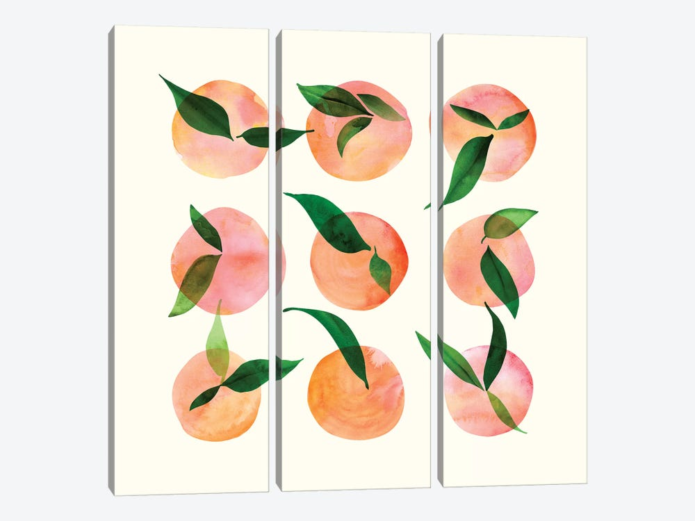 Watercolor Fruit by Modern Tropical 3-piece Canvas Art Print