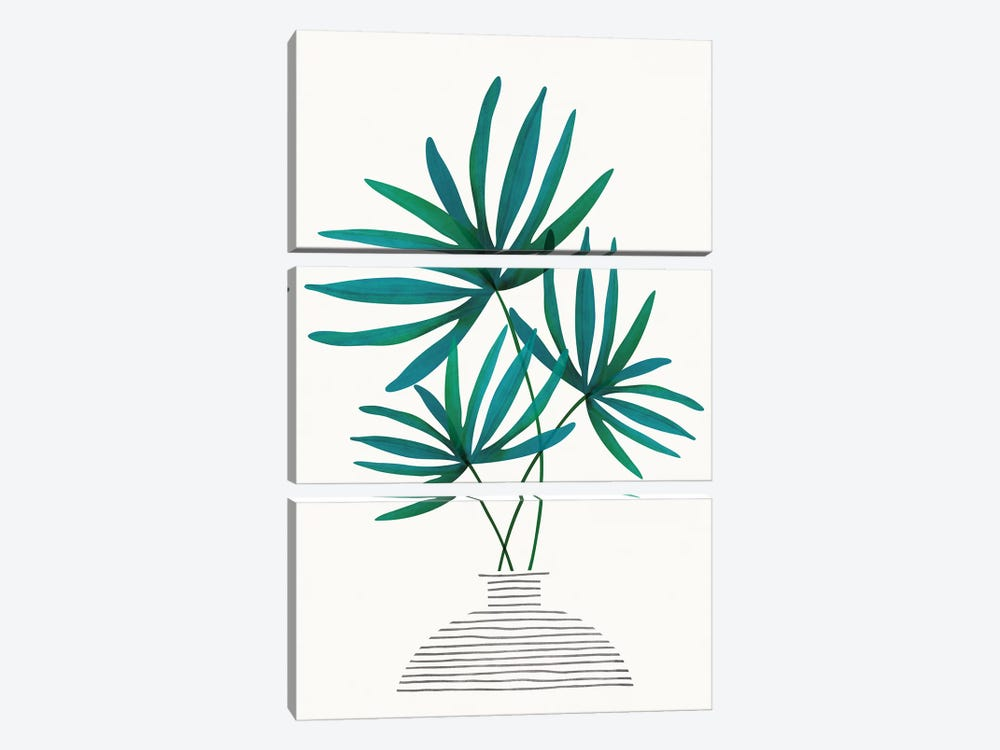 Fan Palm Fronds by Modern Tropical 3-piece Canvas Print