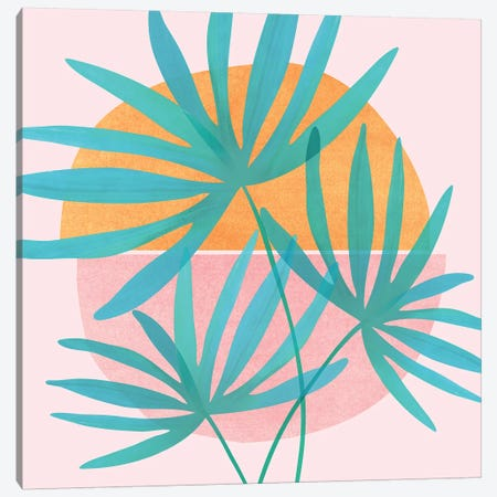 Retro Sunset Fan Palms Canvas Print #MTP91} by Modern Tropical Canvas Art Print