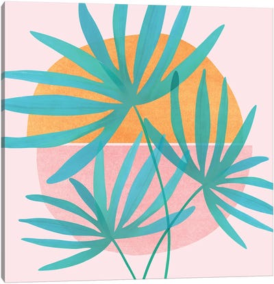 Retro Sunset Fan Palms Canvas Art Print