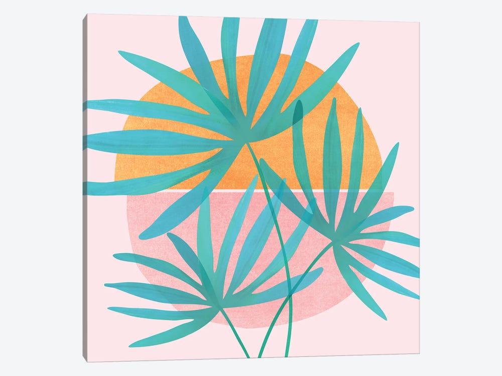 Retro Sunset Fan Palms by Modern Tropical 1-piece Canvas Art