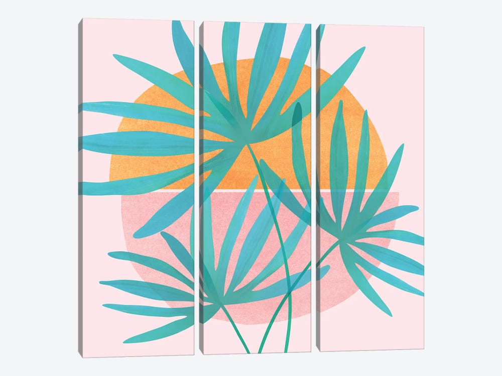 Retro Sunset Fan Palms by Modern Tropical 3-piece Canvas Artwork