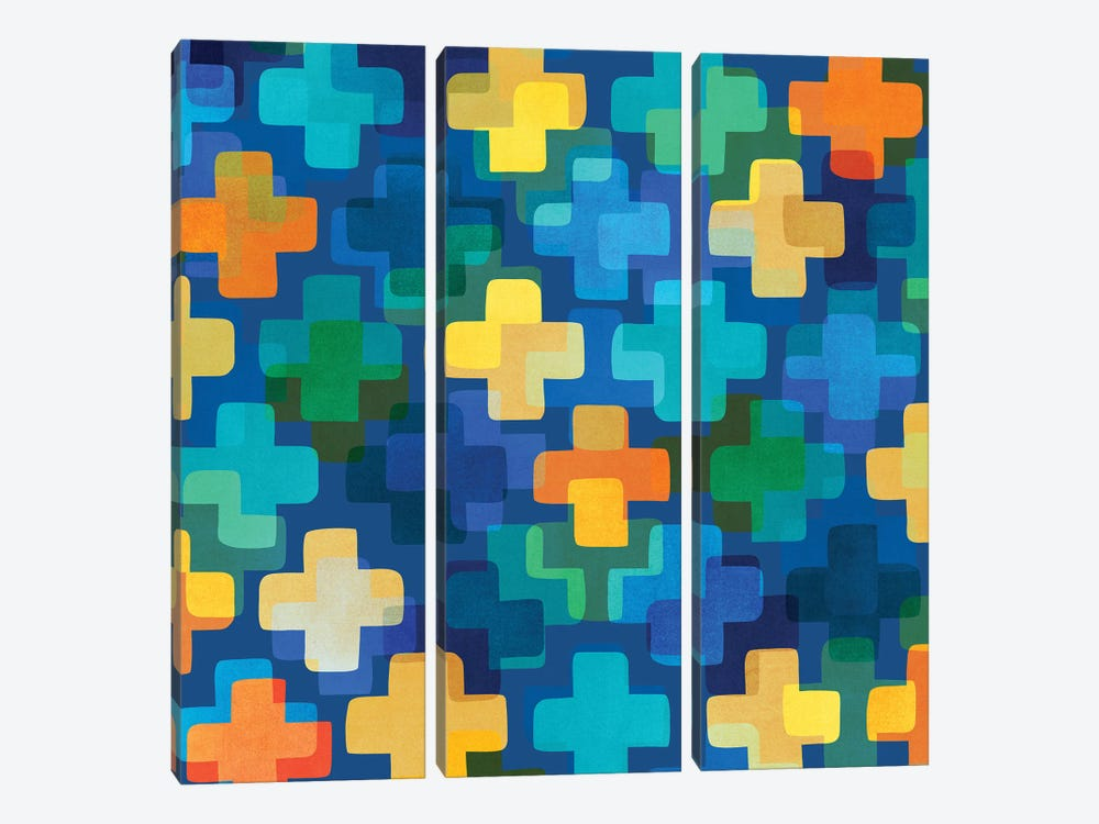 Positively Blue by Modern Tropical 3-piece Canvas Print