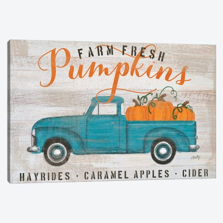 Blue Truck Pumpkin Patch     Canvas Print #MTY5} by Misty Michelle Canvas Art Print