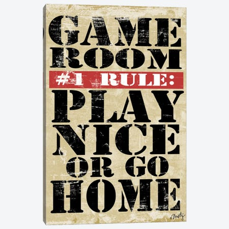 Game Room #1 Rule Canvas Print #MTY7} by Misty Michelle Canvas Art Print
