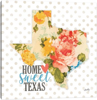 Home Sweet Texas Floral Canvas Art Print