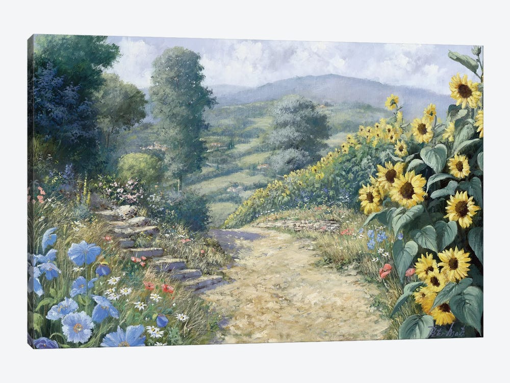 Along The Sunflowers by Peter Motz 1-piece Canvas Print
