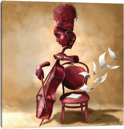 The Solo Cellist Canvas Art Print