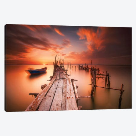 Red Sunset At Carrasqueira, Alentejo Canvas Print #MUM3} by Andy Mumford Canvas Artwork