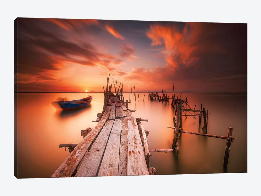Red Sunset At Carrasqueira, Alentejo by Andy Mumford 1-piece Canvas Art Print