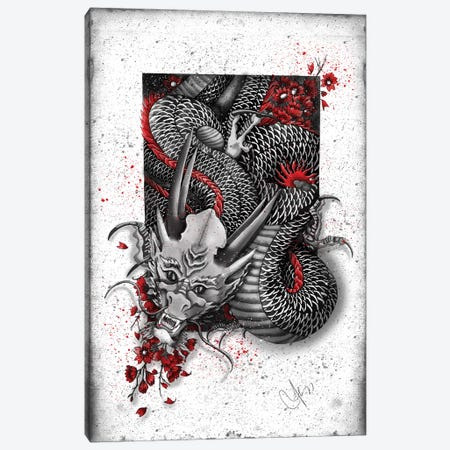 Black Dragon 3-Piece Canvas #MUP13} by Marine Loup Canvas Art