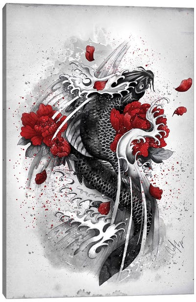 Black Koi Canvas Art Print