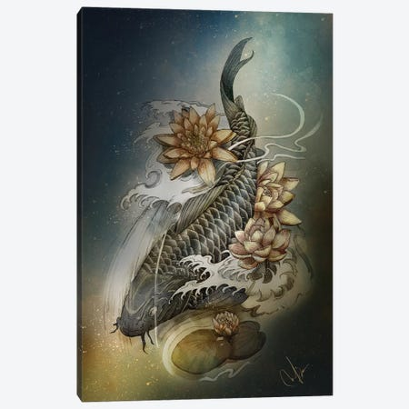 Koi And Lotus Canvas Print #MUP42} by Marine Loup Canvas Print