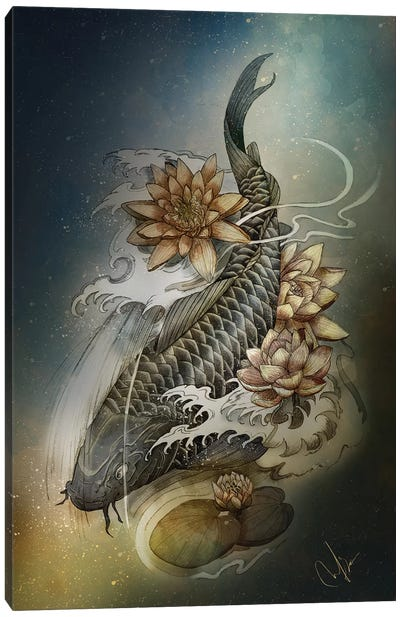 Koi And Lotus Canvas Art Print