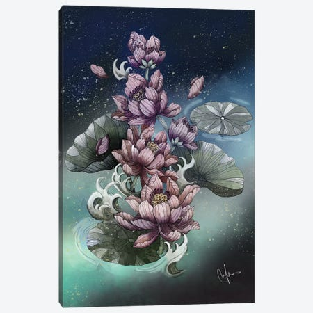 Lotus Flower Canvas Print #MUP46} by Marine Loup Canvas Wall Art