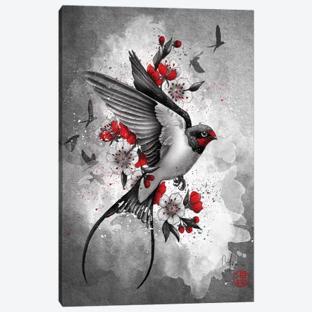 Swallows And Sakuras 3-Piece Canvas #MUP59} by Marine Loup Canvas Artwork
