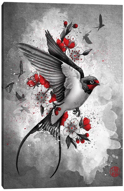 Swallows And Sakuras Canvas Art Print