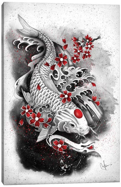 White Koi Canvas Art Print
