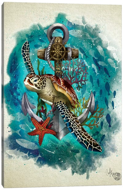 Turtle And The Sea Canvas Art Print