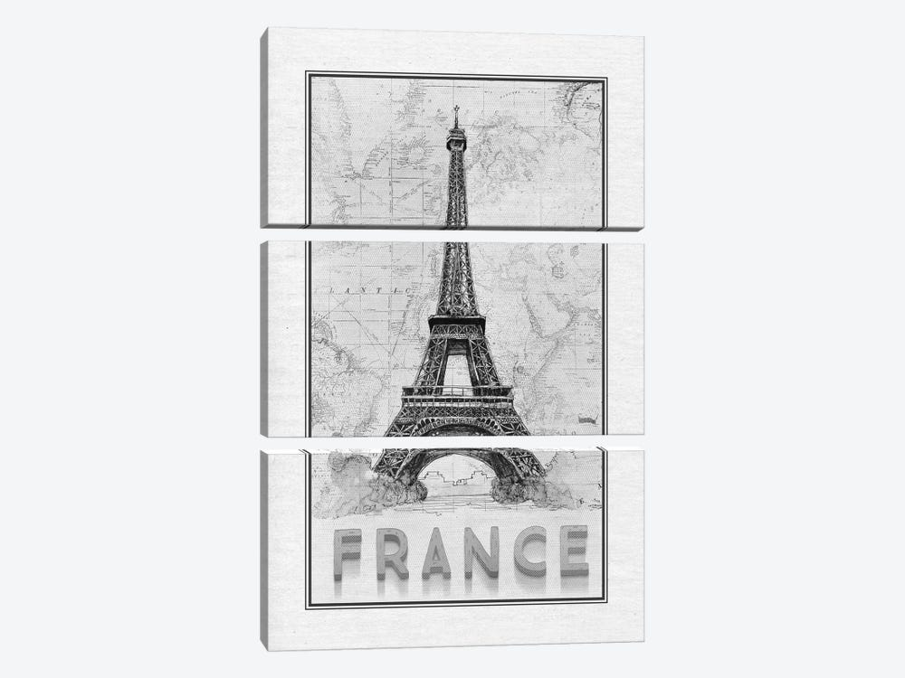 Travel France by Ramona Murdock 3-piece Canvas Art