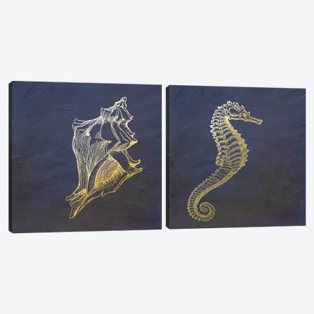 Golden Sea Creatures Diptych Canvas Print Set #MUR2HSET001} by Ramona Murdock Canvas Art Print