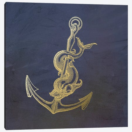 Golden Anchor Canvas Print #MUR4} by Ramona Murdock Art Print