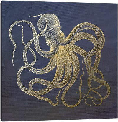 Golden Octopus Canvas Art Print