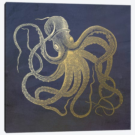 Golden Octopus Canvas Print #MUR5} by Ramona Murdock Canvas Art Print