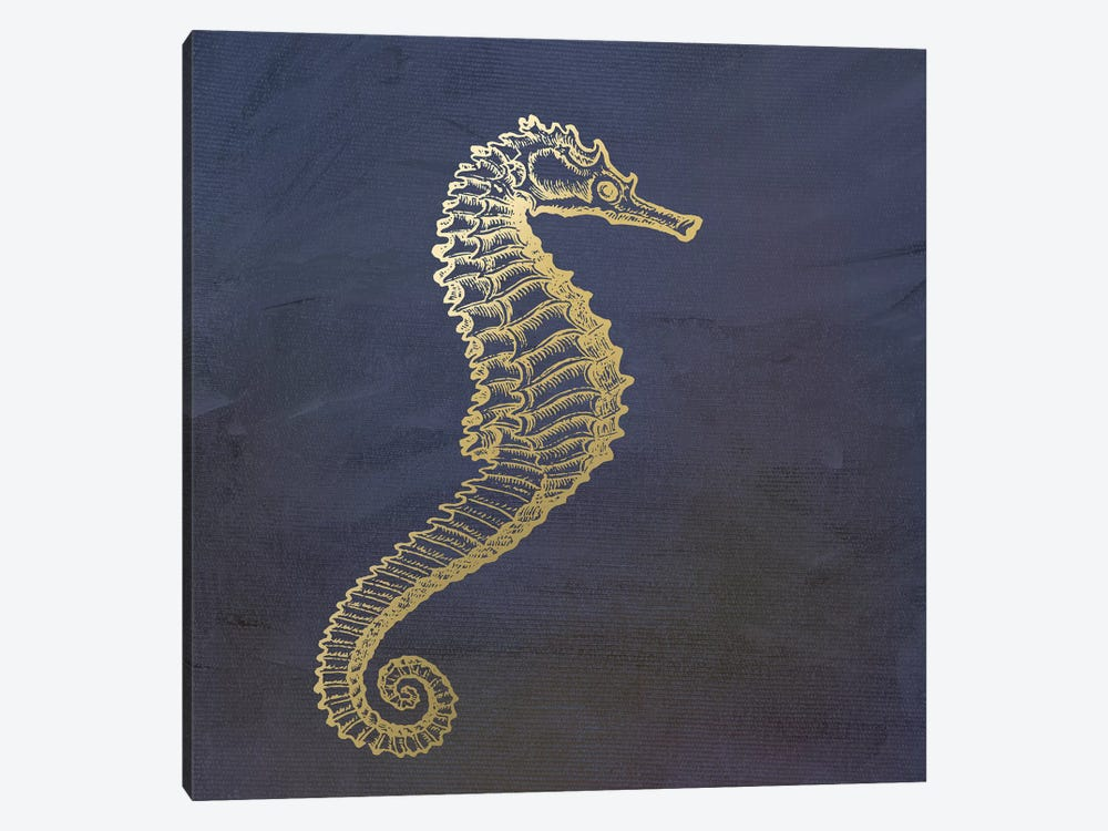 Golden Seahorse by Ramona Murdock 1-piece Canvas Art Print