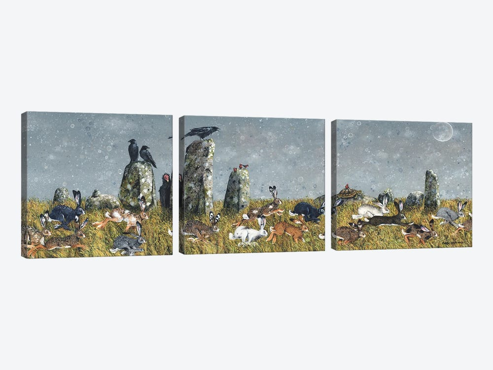 The Running Of The Hares by Maggie Vandewalle 3-piece Canvas Art Print