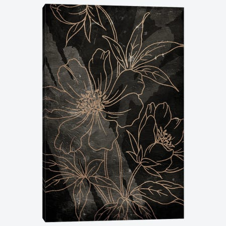 Muted Golden Abstract Floral Canvas Print #MVI177} by Mlli Villa Canvas Wall Art
