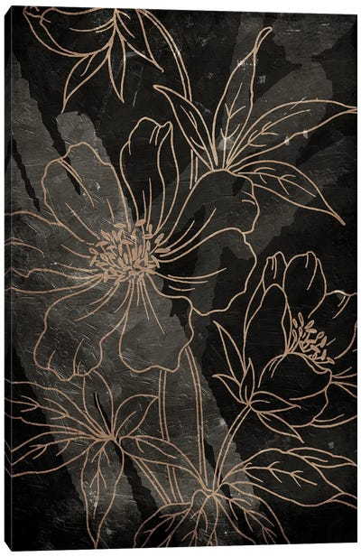 Muted Golden Abstract Floral Canvas Art Print