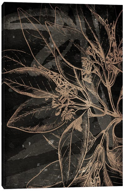 Muted Golden Abstract Floral Mate Canvas Art Print