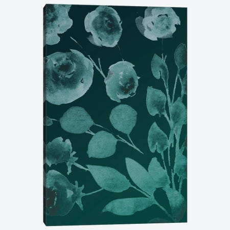Teals Florals In The Wind II Canvas Print #MVI184} by Mlli Villa Canvas Art Print