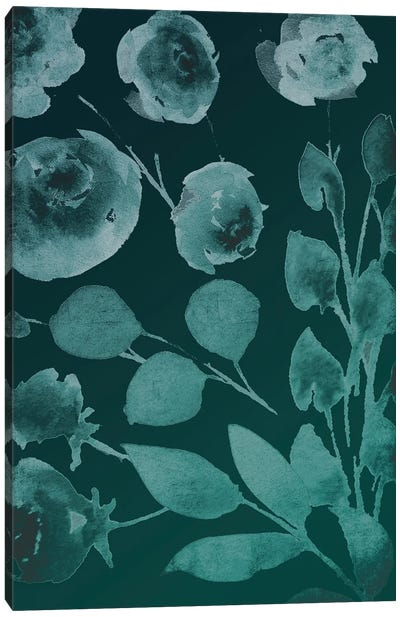 Teals Florals In The Wind II Canvas Art Print